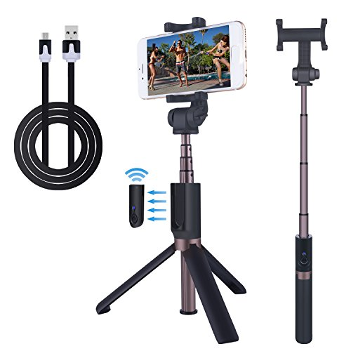 Selfie Stick Bluetooth Extendable Monopod Foldable Tripod With Detachable Rechargeable Remote And Rotatable Phone Holder For iPhone 7 Plus 6s Android Cellphones