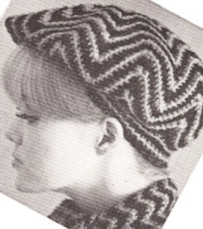 (Vintage Crochet PATTERN to make - Tam Beret Hat Striped Ripple Crochet Pattern. NOT a finished item, this is a pattern and/or instructions to make the item only.)