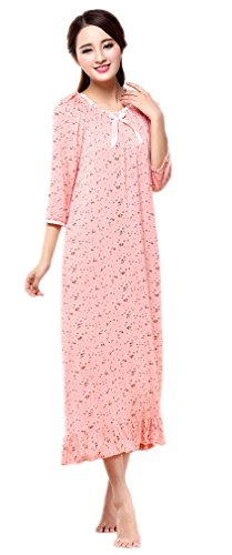 Soojun Women's Cotton Floral 3/4 Sleeve Victorian Nightgown Sleepwear, Coral, Medium (Sleepshirt Floral Sleeve 3/4)