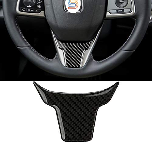 Senzeal 1PCS Carbon Fiber Steering Wheel Cover Trim for Honda 10th Gen Civic 2016 2017 2018 2019