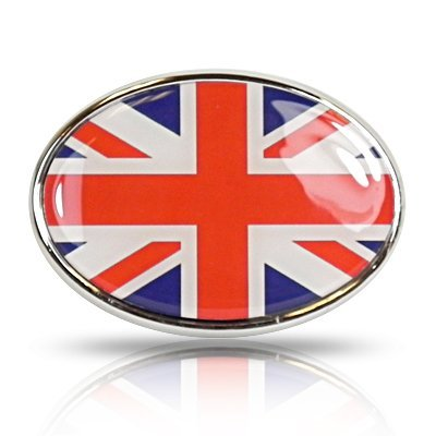 British Flag Union Jack Oval Shape Metal Car Emblem