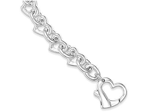 (Finejewelers Sterling Silver 7.5inch Polished Fancy Heart Link Bracelet)