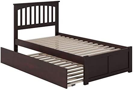 Atlantic Furniture AR8722011 Mission Platform Bed with Twin Size Urban Trundle, Twin, Espresso
