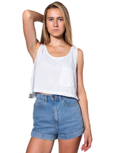American Apparel Mid-Length Pocket Tank - White / One Size