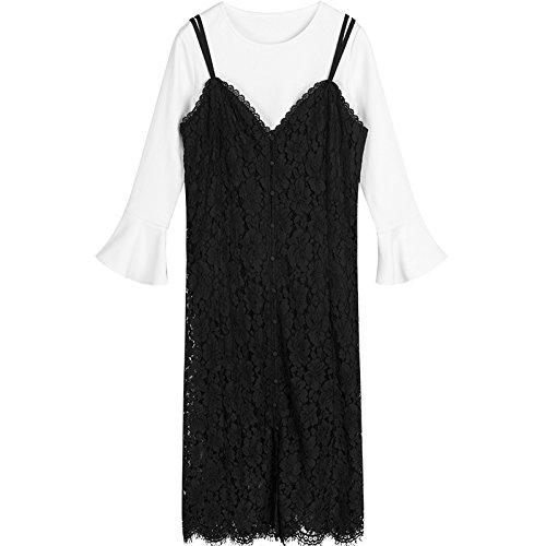 Vestido ZHUDJ Mujer L Largo Negro Piezas En Otoño Dos Encaje E Sling Vestido Negro De L Invierno xAAwqUE