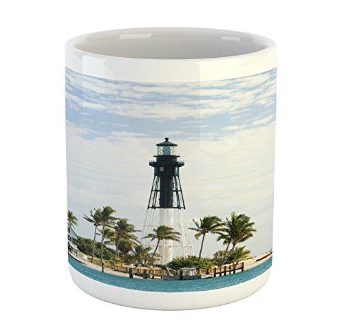 - Ambesonne United States Mug, Hillsboro Lighthouse Pompano Beach Florida Atlantic Ocean Palms Coast, Ceramic Coffee Mug Cup for Water Tea Drinks, 11 oz, Seafoam Green