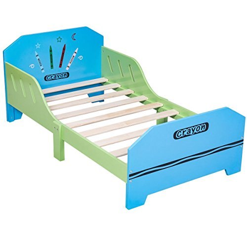 COLIBROX Crayon Themed Wood Kids Bed with Bed Rails for Toddlers and Children Colorful. solid wood children's bedroom furniture. wooden toddler bed with drawer. non toxic twin bed. by COLIBROX (Image #3)