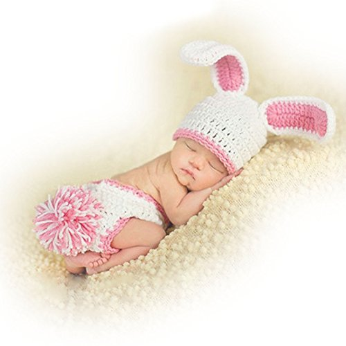 Neevas Cute Baby Costume Pink Rabbit Photography Props Toddler Knit Crochet Animal Hat ()
