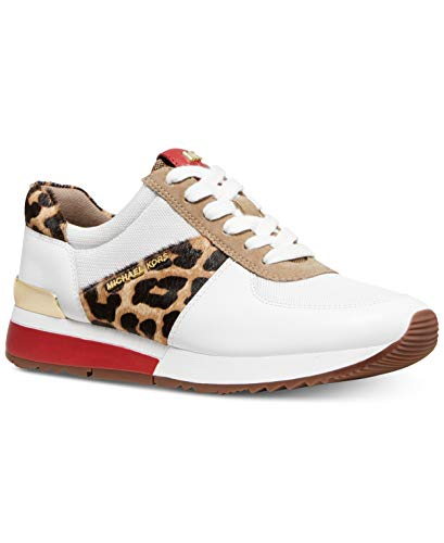 Cheetah Footwear - Michael Kors MK Women's Allie Trainer Leather Sneakers Shoes Natural Cheetah (7.5)