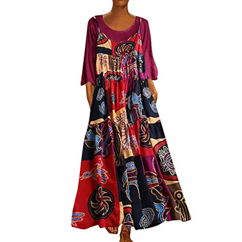 Finedayqi  Woman Dress,Women Plus Size Patchwork Two-Piece O-Neck Wrist Print Vintage Maxi Dress Hot Pink