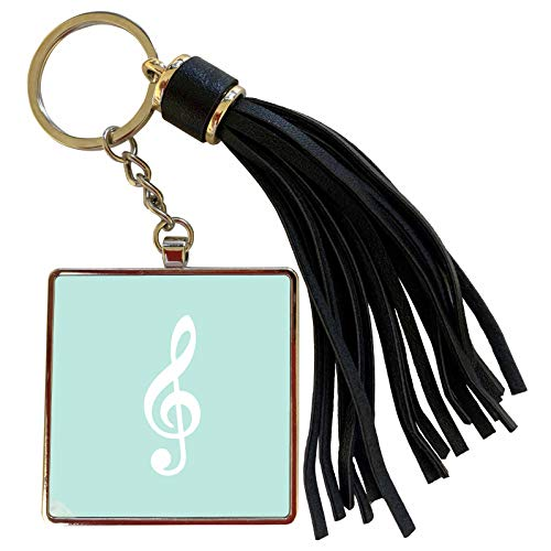 3dRose InspirationzStore Music Art Designs - Mint Treble Clef Music Notation - G clef musical note musician gift - Tassel Key Chain (tkc_232111_1) (Oasis A Great Big World Piano Sheet Music)