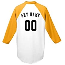 Customized (Any Name and/or Number) Raglan 3/4 Colored Sleeve Baseball/Softball Shirt/Jersey (Youth & Adult)