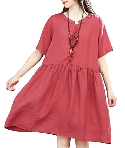 YESNO Y50 Women Casual Loose Knee Dress 100% Linen 'A' Skirt Agaric Laces Gathered Waist Pocket - Linen Lace Skirt