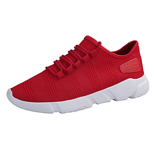 Braloneesc Men's Sneaker Slip On Sport Shoes Sneakers Outdoor Lightweight Running Leisure Breathable Fitness Mesh Gym Air Red