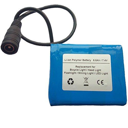 Starnovo 7.4V 6600mAh Li-ion Polymer Battery Pack For Bicycle Light, Headlamp, Head Light And Flashlight