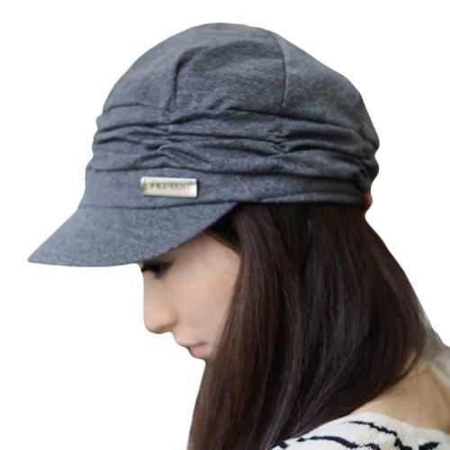 LOCOMO Women Girl Fashion Design Drape Layers Beanie Rib Hat Brim Visor Cap FFH010GRY Gray