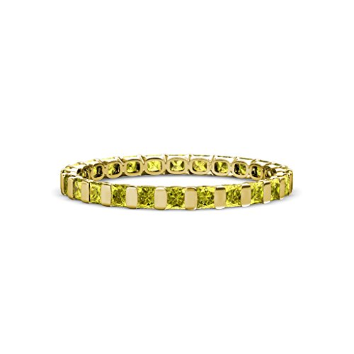 Yellow Diamond 2.5mm Common Channel Set Eternity Band 1.80-2.10 Carat tw 14K Yellow Gold.size 6.75 (Eternity Tw Diamond 2ct Band)