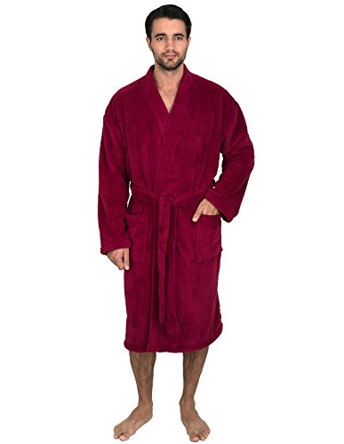 (TowelSelections Super Soft Plush Kimono Bathrobe Fleece Spa Robe for Men Large/X-Large Beaujolais )