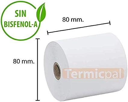 30 ROLLOS PAPEL TERMICO 80X80X12 SIN BISFENOL-A: Amazon.es ...