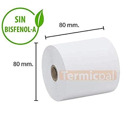 30 ROLLOS PAPEL TERMICO 80X80X12 SIN BISFENOL-A