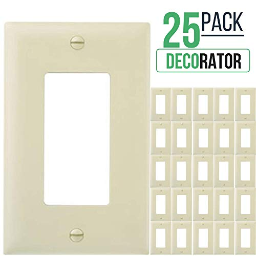 (Decorator Switch Wall Plate, 1-Gang Standard Size, for Paddle Rockers, GFCI Devices, Timers, Dimmers, Sensors, Unbreakable Polycarbonate (25 Pack, Ivory))