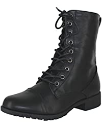 Womens Round Toe Military Lace up Knit Ankle Cuff Low Heel Combat Boots