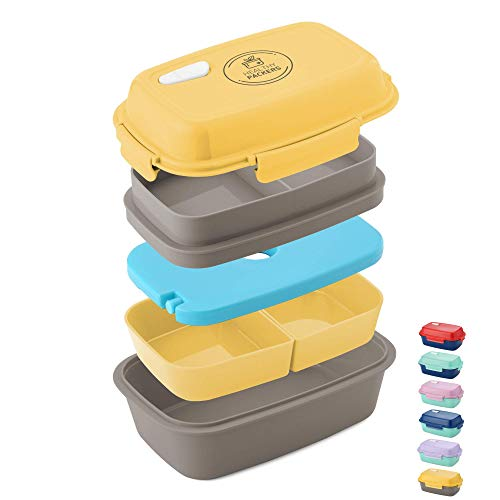 Ultimate Bento Box - Lunch Box for Kids & Adults - 100% Leakproof - Multi Compartment Food Container with Removable Containers and Ice Pack - Microwave & Dishwasher Safe (Best Bento Box For Adults)
