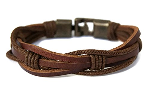Mens Leather Bracelet Braided Brown Rustic Gift For Dad Fathers Day Cuff Wrist Band Rope Bracelet with Bronze Clasp