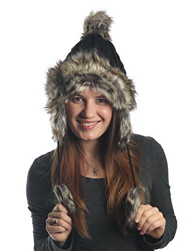 KayJayStyles Ear flap Furry Cable Knit Trooper Trapper Pom Pom Ski Snow Hat (Black)