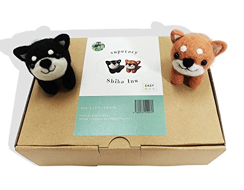 superacy Needle Felting Starter Kit for Beginners Shiba Inu Dog - High Grade Wool, Needles, Mat, Finger cot, Instructions