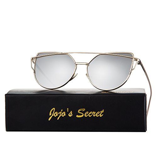 JOJO'S SECRET Cat Eye Sunglasses Metal Frame Mirror Sunglasses For Women (Gold/Silver, 2.36)