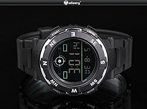 INFANTRY Mens Digital Wrist Watch LCD Police Style Stopwatch Sport Black Rubber (Citizen Watch Silicone)