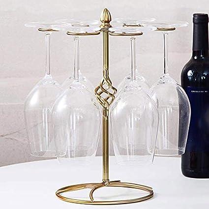 Bronzo Scuro Abracing Metallo da Tavolo Bicchiere a Stelo Scaffale Bicchiere Vino Reggitazze con 6 Ganci per la Casa Porta bottiglie da vino