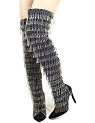 Cape Robbin Gigi-138 Black Pointy Metal Silver Fringe Thigh High Stiletto Boots
