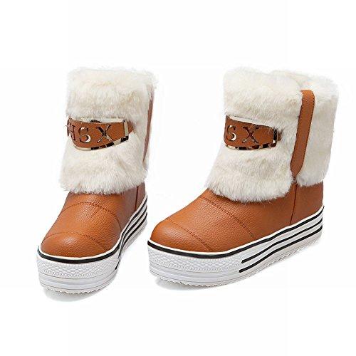 Mostra Brillare Moda Donna Eco-pelliccia Piattaforma Stivali Corti Stivali Da Neve Giallo