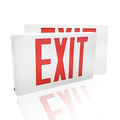 eTopLighting [2 Pack] LED Exit Sign Emergency Light, Red Letter, Battery Back-up, Extra Face Plate Included, Fully Automatic Operation, Ceiling or Wall Mounting, Side Mounting, AGG2167 ()