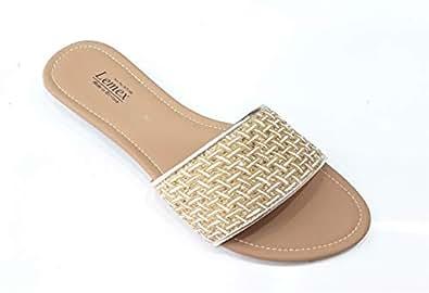 LEMEX Gold Slides Slipper For Women
