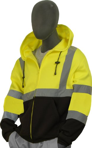 Majestic Glove 75-5325-L High Visibility Sweatshirt with Zipper Front Hood, Large, Yellow/Black ()