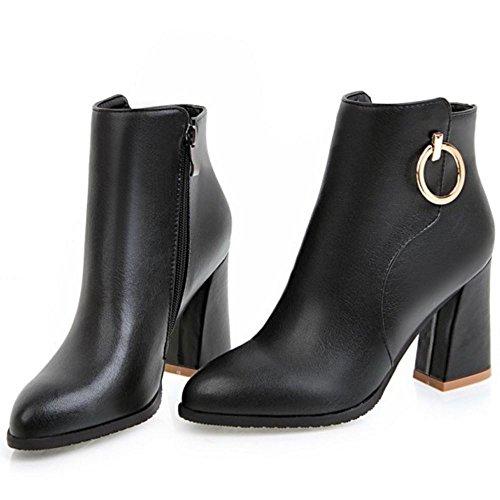 COOLCEPT Damen Mode Street Blockabsatz High Heel Zip Kleid Stiefel Black