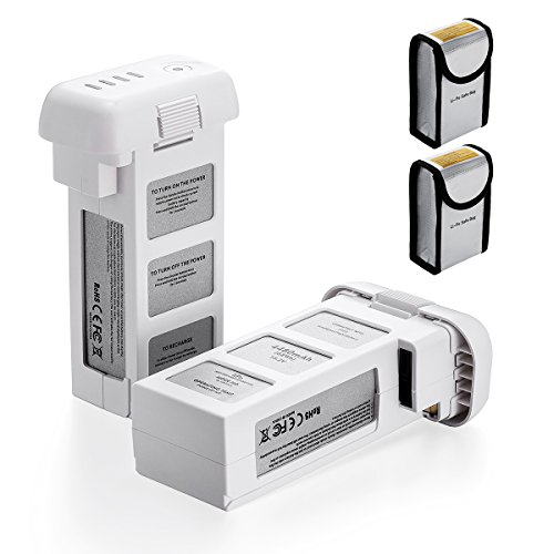 Powerextra 2-Pack 15.2V 4480mAh LiPo Intelligent Replacement Flight Battery for DJI Phantom 3 SE, Phantom 3 Professional, Phantom 3 Advanced, Phantom 3 Standard, Phantom 3 4K (Touch Standard Battery)