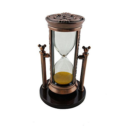 Fengfa,3 Minutes Hourglass,Sand Timer Romantic Crystal with Sands Office Desk Coffee Table Book Shelf Cabinet Christmas Birthday Present Gift Box Package (R Electric red bronze)