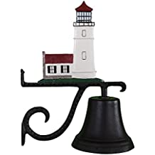 Montague Metal Products Cast Bell with Color Cottage Lighthouse