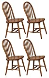 Cheap The Furniture Cove 4 Dark Oak Stain Kitchen Dining Arrow Back Chairs Set