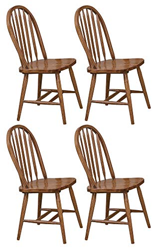 The Furniture Cove 4 Dark Oak Stain Kitchen Dining Arrow Back Chairs Set