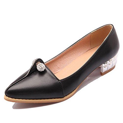 AllhqFashion Damen Spitz Zehe Ziehen auf PU Leder Eingelegt Niedriger Absatz Pumps Schuhe Schwarz