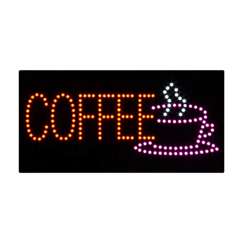 Espresso Outdoor Led Sign - HIDLY LED Coffee Cafe Espresso Open Light Sign Super Bright Electric Advertising Display Board for Message Business Shop Store Window Bedroom 24 x 12 inches
