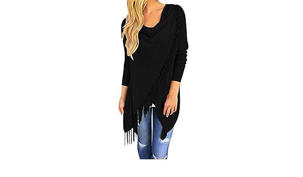 TINGSU - Blusa de manga larga para mujer con cuello redondo ...