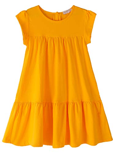 Youwon Girls Dress Short Sleeve Solid Color Tunic A-Line Tiered Swing Dress 2-6 7-16