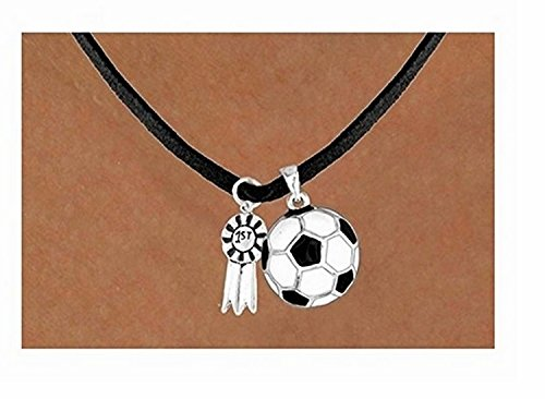 ''1st'' Ribbon & Soccer Ball Necklace by Lonestar Jewelry