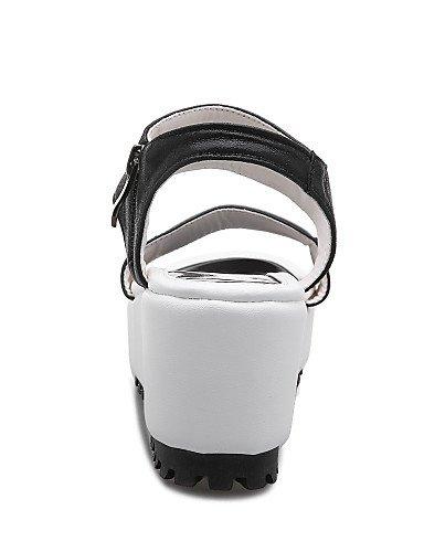 LFNLYX Zapatos de mujer-Tacón Cuña-Cuñas / Plataforma / Gladiador-Sandalias-Exterior / Vestido / Casual-Semicuero-Negro / Plata Silver
